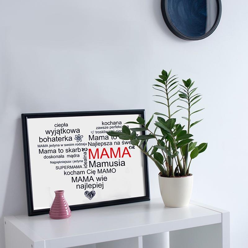 plakat z liter serce dla mamy