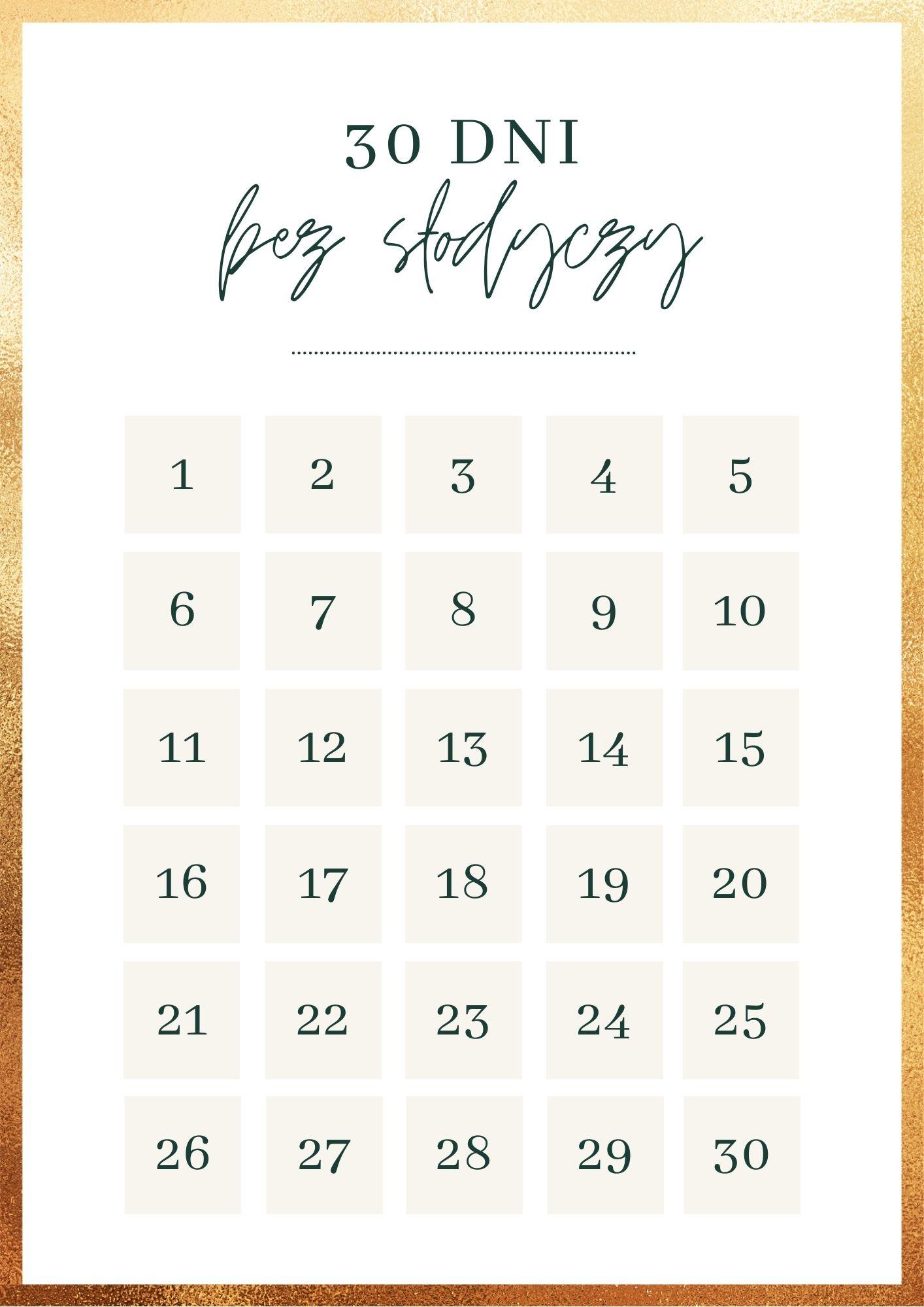 tabela 30 dni bez slodyczy